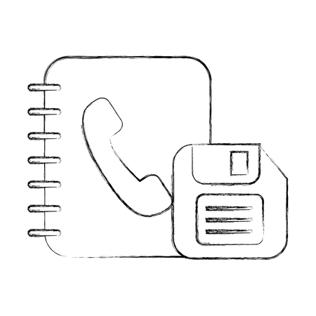 office book address telephone and floppy vector illustration hand drawing