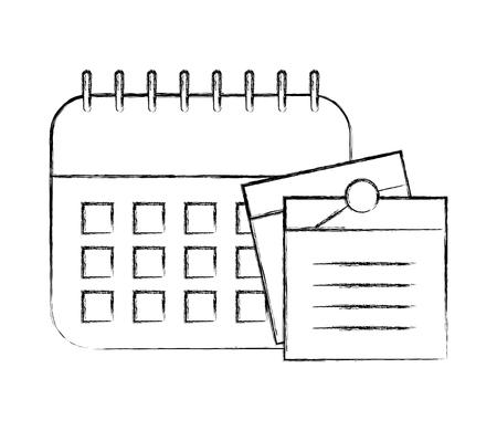 office calendar memos notes remindering vector illustration hand drawing
