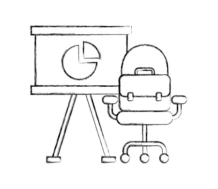 office presentation board chair and briefcase vector illustration hand drawing
