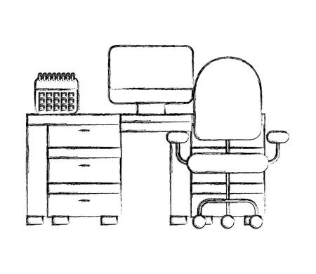 scrivania da ufficio computer calendario e sedia illustrazione vettoriale disegno a mano