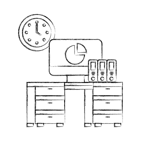 office desk computer binders clock objects vector illustration hand drawing Archivio Fotografico - 108153029