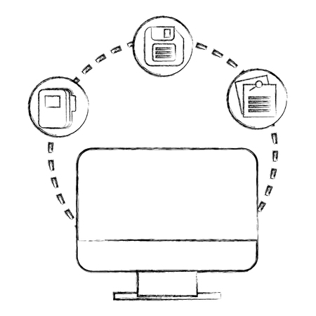 computer monitor office floppy disk note mail vector illustration hand drawing Illustration