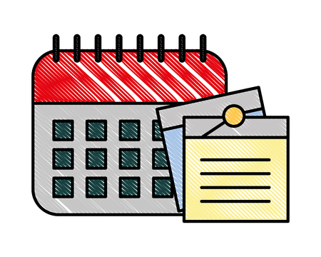 office calendar memos notes remindering vector illustration Çizim