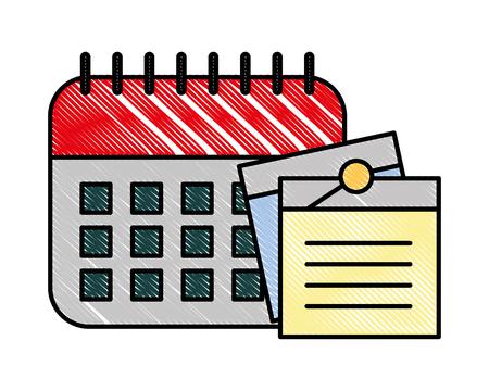 office calendar memos notes remindering vector illustration Illustration