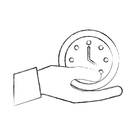 hand holding clock time business office vector illustration hand drawing Stock Illustratie