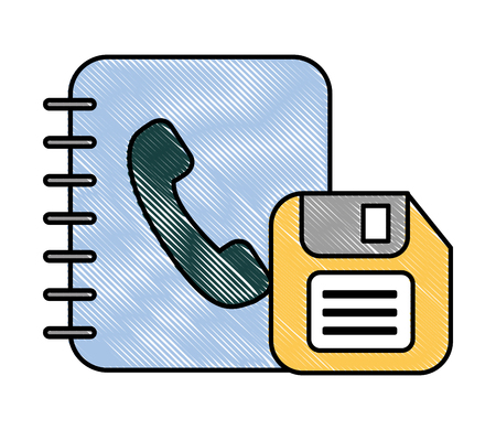 office book address telephone and floppy vector illustration Illustration