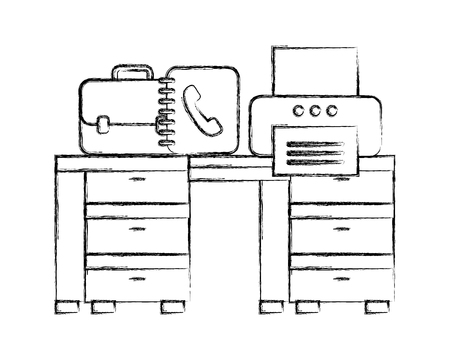 office desk with printer book address and briefcase vector illustration hand drawing