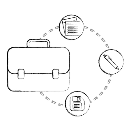 business briefcase office note floppy disk and pen vector illustration hand drawing