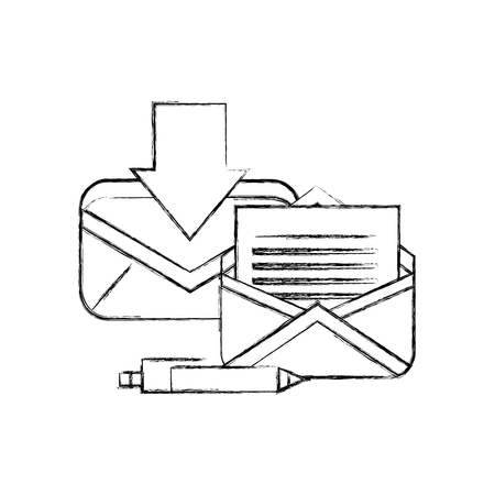 office email receiving message correspondence pen vector illustration hand drawing