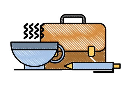 business briefcase pen and coffee cup vector illustration Ilustração