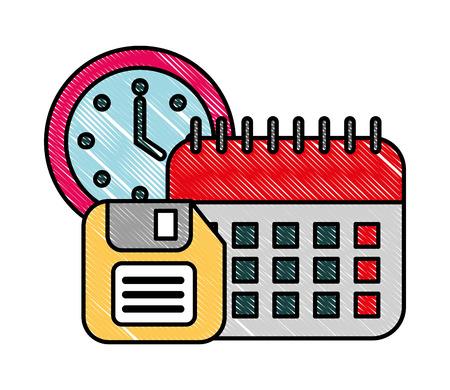 office calendar clock time floppy disk vector illustration Çizim