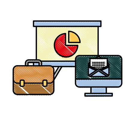 office business briefcase board presentation and computer email vector illustration Illustration