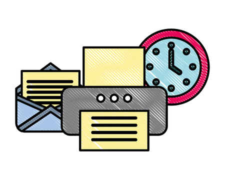 office printer device email clock supplies vector illustration
