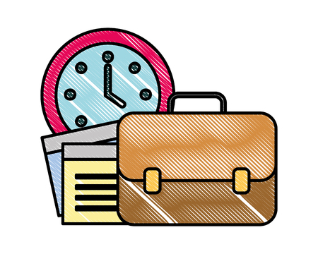 office business briefcase paper clock time vector illustration