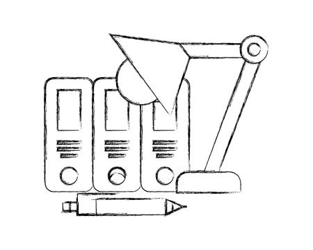 office binders pen and lamp supplies vector illustration hand drawing Иллюстрация