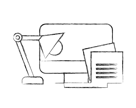 office computer monitor notes paper memo vector illustration hand drawing