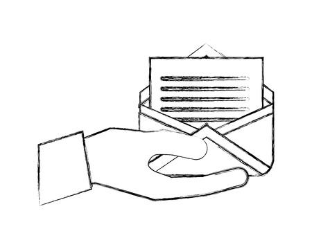 hand holding envelope email letter communication vector illustration hand drawing Ilustração Vetorial