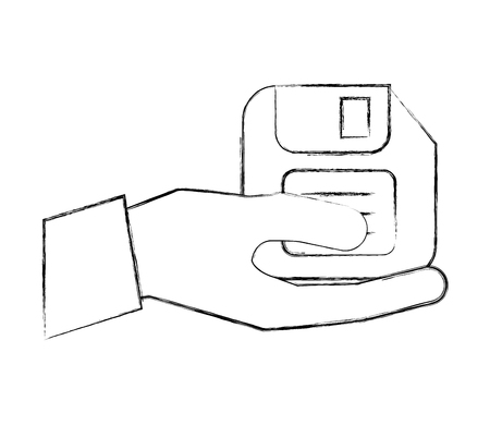 hand holding floppy disk archive file vector illustration hand drawing