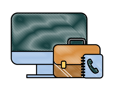 office computer business briefcase book telephone vector illustration 일러스트