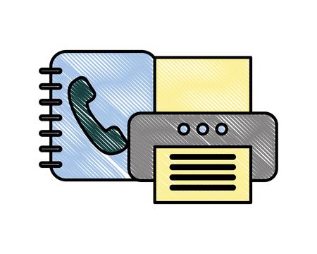 office printer device document book telephone vector illustration