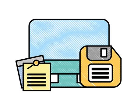 Computer-Diskette und Notizen-Memo-Büro-Vektor-Illustration Vektorgrafik