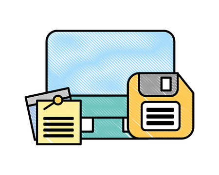 computer floppy disk and notes memo office vector illustration