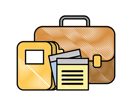 business briefcase office folder files vector illustration