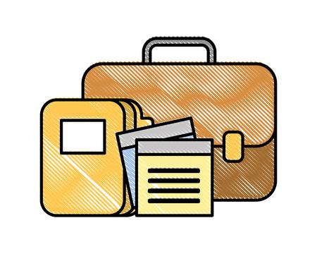business briefcase office folder files vector illustration