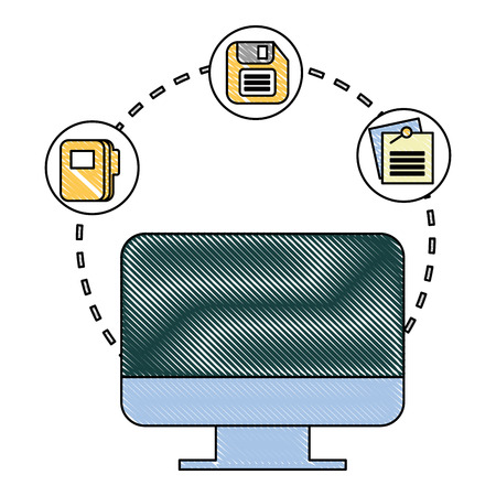 computer monitor office floppy disk note mail vector illustration