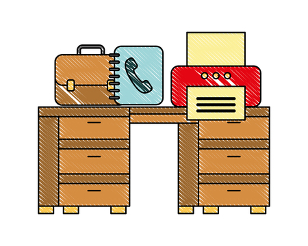 office desk with printer book address and briefcase vector illustration