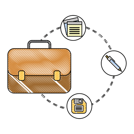 business briefcase office note floppy disk and pen vector illustration Çizim