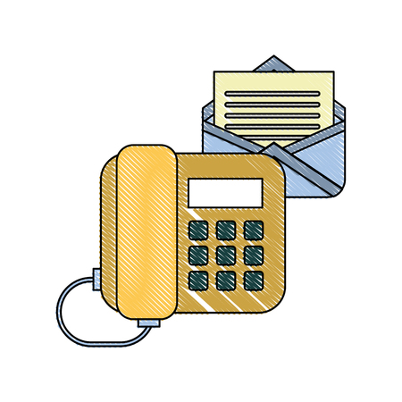 office telephone email letter correspondence vector illustration Stock Illustratie