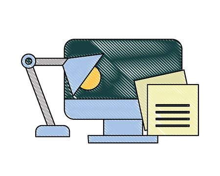 office computer monitor notes paper lamp vector illustration