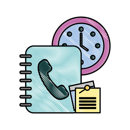 office clock time book telephone notes paper vector illustration