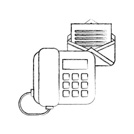office telephone email letter correspondence vector illustration hand drawing Illusztráció