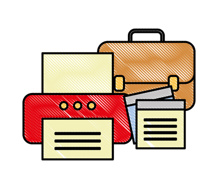 office printer business briefcase and note paper vector illustration Stock Illustratie