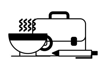 portfolio briefcase with coffee cup and pen vector illustration design
