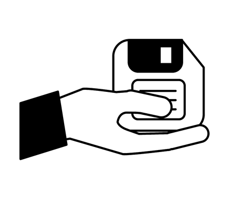 hand with floppy disk vector illustration design