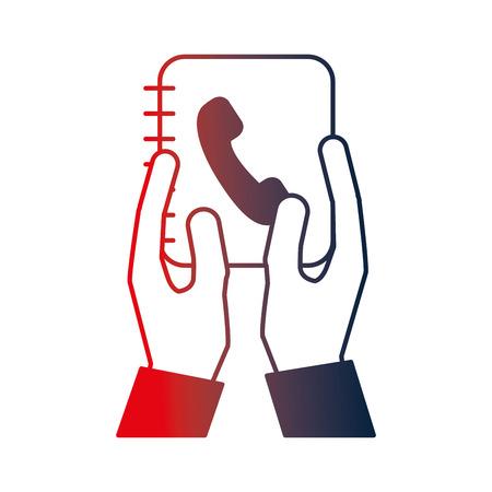 hands lifting phonebook agend vector illustration design
