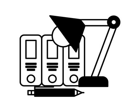 Ordnungsordner mit Lampenvektorillustrationsentwurf Vektorgrafik