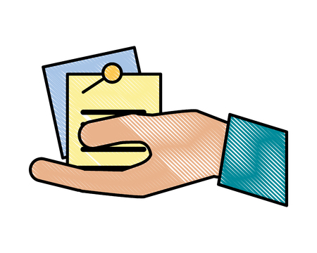 hand holding office note memo pin vector illustration Stock Vector - 110086071
