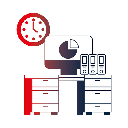 office with desk workplace vector illustration design