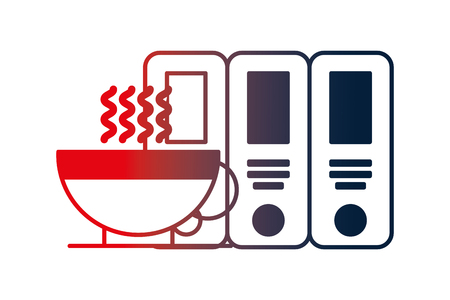 organizing folder with coffee vector illustration design