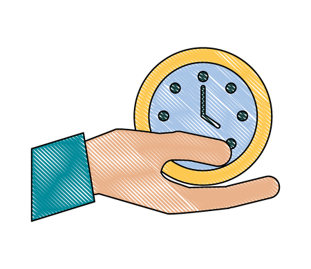 hand holding clock time business office vector illustration
