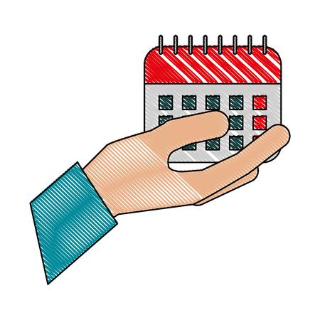 hand holding calendar reminder plan date vector illustration
