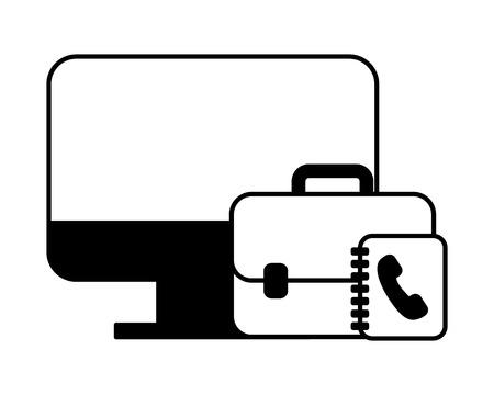 computer desktop with portfolio and phonebook vector illustration design