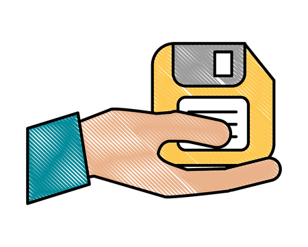 hand holding floppy disk archive file vector illustration