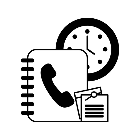 phonebook agend with watch and document vector illustration design Ilustracja