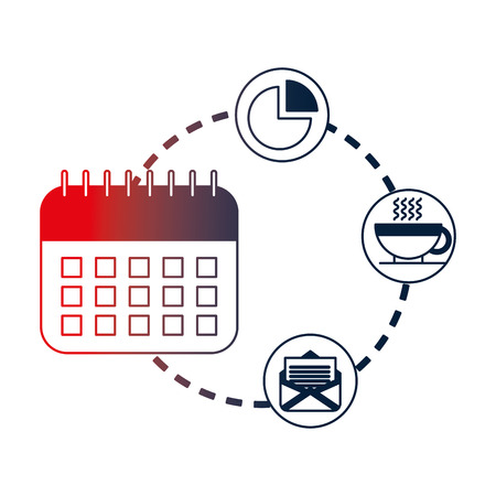 calendar with floppy and clock isolated icon vector illustration design
