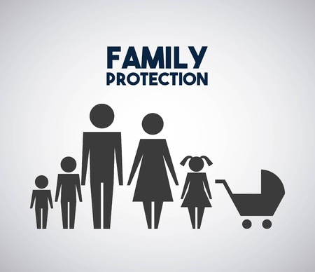 family protection parents kids and baby pram vector illustration
